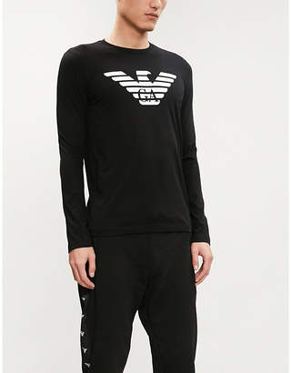 Emporio Armani Eagle logo long-sleeved cotton T-shirt