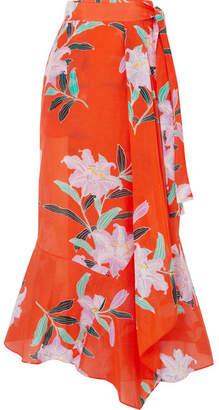 Diane von Furstenberg Floral-print Cotton And Silk-blend Gauze Wrap Maxi Skirt - Tomato red