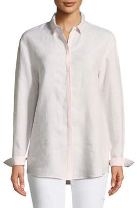 Lafayette 148 New York Sabira Long-Sleeve Virtuous Striped Linen Blouse