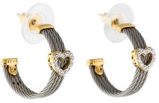 CharriolCharriol Cable Classique Diamond Heart Hoop Earrings