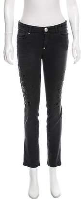 Philipp Plein Mid-Rise Embellished Jeans