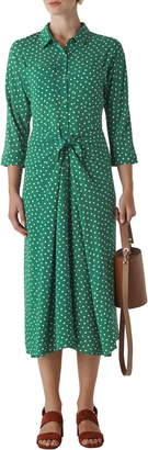 Whistles Selma Abstract Spot Print Tie Front Midi Dress