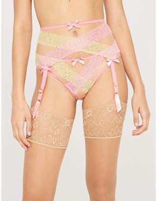 Agent Provocateur Lace and mesh suspender belt