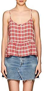 Current/Elliott WOMEN'S THE WORKWEAR PLAID LINEN-COTTON PEPLUM TOP-RED SIZE 2