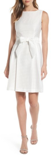 Anne Klein Women's Anne Klein Shadow Stripe Fit & Flare Dress