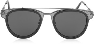 Bottega Veneta BV0123S Round Metal and Acetate Unisex Sunglasses