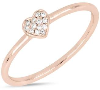 Bony Levy 18K Rose Gold Pave Diamond Heart Stackable Ring - 0.04 ctw
