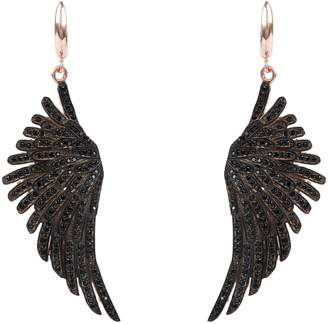 Rosegold Latelita - Angel Wing Drop Earring Black Cz