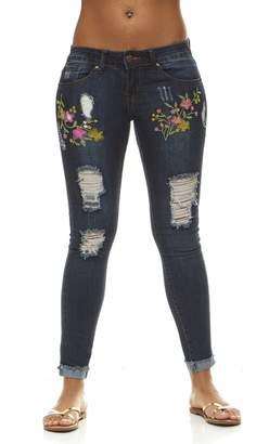 V.I.P.JEANS Women's Flower Embroidery, Tight Slim Fitting, Junior Sizes, Dark Blue Wash