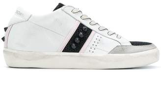 Leather Crown stud panelled sneakers