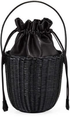 Nancy Gonzalez Wicker & Leather Drawstring Bucket Bag