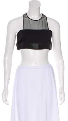 David Koma Leather-Trimmed Crop Top