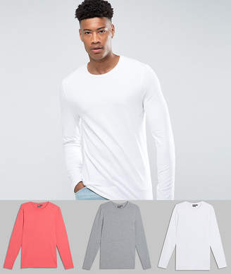 Asos DESIGN Tall muscle fit long sleeve t-shirt 3 pack SAVE