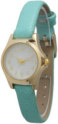 OLIVIA PRATT Olivia Pratt Womens Gold-Tone Multi-Color Floral Print Dial with Mint Leather Strap Watch 14181