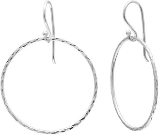 Sterling Silver Textured Hoop Drop Earrings
