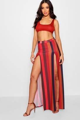 boohoo Bold Stripe Thigh Split Maxi Skirt