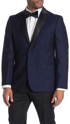 Ben Sherman Blue Checkered Two Button Trim Fit Tuxedo Jacket