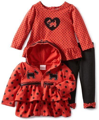 Nannette Baby-Girls Infant 3 Piece Dog Hoodie Set