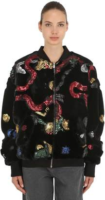 Sequined Faux Fur Bomber Jacket