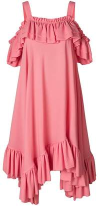 Alexander McQueen off-shoulder asymmetric ruffle dress
