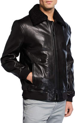Kenneth Cole New York Men's Leather Sherpa-Collar Jacket