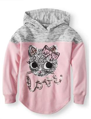 Miss Chievous Sequin Kitty Colorblock Pullover Hoodie (Big Girls)