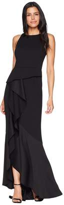 Adrianna Papell Sleeveless Long Knit Crepe Gown with Cascade Skirt Detail Women's Dress