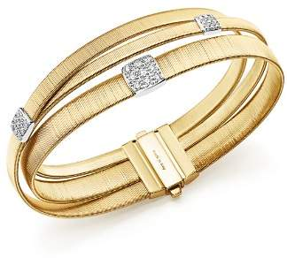 Marco Bicego 18K Yellow Gold Masai Three Strand Crossover Diamond Bracelet