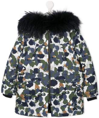 Yves Salomon Enfant fur trim hooded camouflage coat