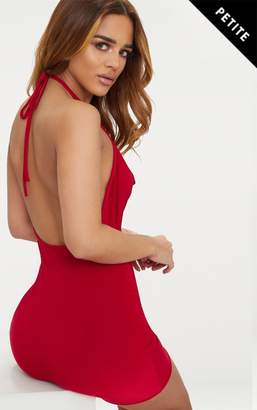 PrettyLittleThing Petite Red Slinky Cowl Neck Bodycon Dress