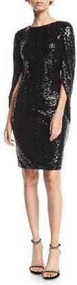 Badgley Mischka Sequin Cowl-Sleeve Dress