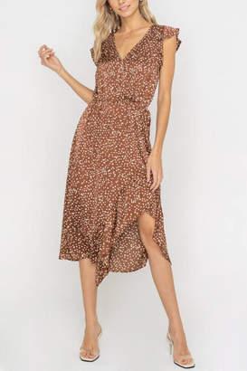 Lush Clothing Ruffle-Accent Flowy Midi-Dress