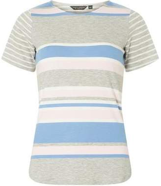 Dorothy Perkins Womens Blue and Grey Striped Curve Hem T-Shirt