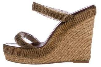 Christian Louboutin Chain-Mail Espadrille Wedges