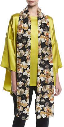 eskandar Floral-Print Silk Scarf