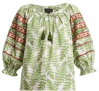 Saloni Polly Fern Print Cotton Top - Womens - Green White