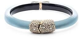 Alexis Bittar Swarovski Crystal Encrusted Clasp Skinny Hinge Bracelet