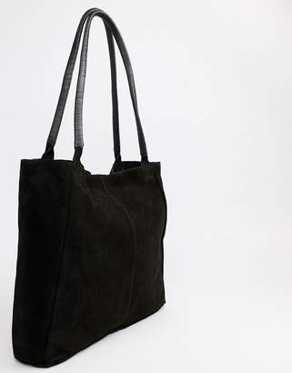 Asos Suede Shopper Bag With Wrap Handle