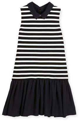 Kate Spade New York Sleeveless Striped Ponte & Pebbled Crepe Shift Dress, Black/White, Size 7-14 $98 thestylecure.com