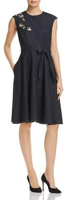 Elie Tahari Carressa Metallic Embroidered Denim Dress