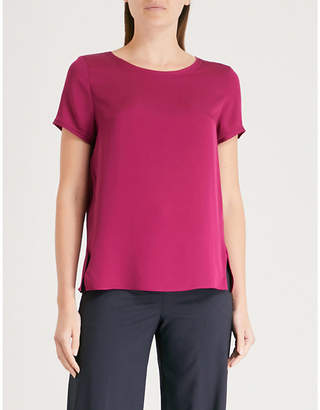 Theory Side-split silk-satin T-shirt