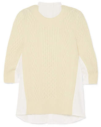 Sacai Oversized Paneled Cable-knit Wool And Poplin Top - White
