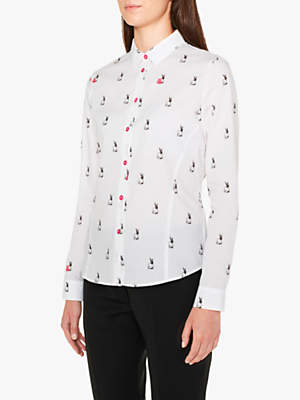 Paul Smith Rabbit Print Cotton Shirt, White