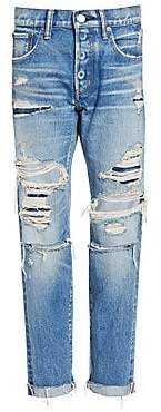 Moussy Women's MV Hampshire Destroyed Tapered Cigarette Jeans