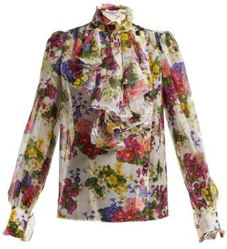Dolce & Gabbana Primrose Print Stretch Silk Chiffon Blouse - Womens - White Multi