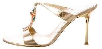 Celine Embellished Metallic Leather Sandals