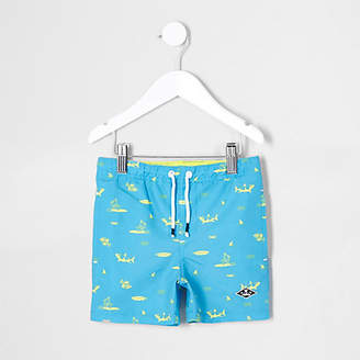 River Island Mini boys blue shark print swim trunks