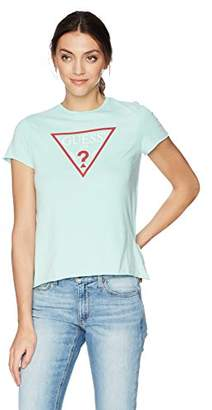 GUESS Women's Short Sleeve Triangle Logo Tee