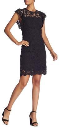 Velvet by Graham & Spencer Flutter Sleeve Lace Sheath Dress