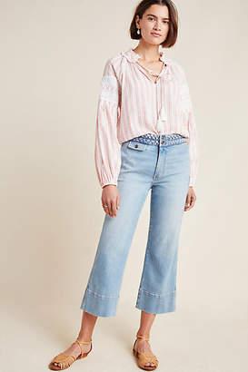 Current/Elliott High-Rise Cropped Wide-Leg Jeans